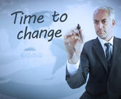 Businessman writing time to change — Stock Photo