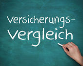 Hand writing versicherungs vergleich — Stock fotografie
