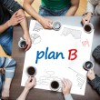 Stock Photo: Plan b written on a poster with drawings of charts