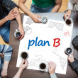 Plan b written on a poster with drawings of charts — Stock Photo