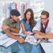 Three fashion designers during a brainstorming — Stock Photo