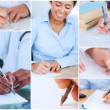 Collage of pictures showing women writing — Stock Photo