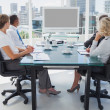Business gathered for a video conference — Stock Photo