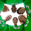 Stock Photo: Low angle view of wearing green shirt with recycling symb
