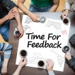 Stock Photo: Time for feedback written on a poster with drawings of charts