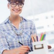 Cheerful designer working on graphics tablet — Stock Photo #26983171
