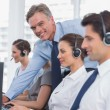 Stock Photo: Call centre working with headset