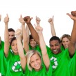 Stock Photo: Cheerful group of environmental giving thumbs up