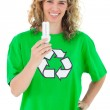 Stock Photo: Environmental activist holding light bulb