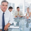 Serious businessman in a meeting — Stock Photo