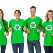 Stock Photo: Group of environmental activists pointing their tshirt