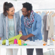 Two fashion designers working together in the office — Stock Photo
