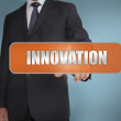 Businessman selecting the word innovation written on orange tag — Photo