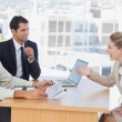 Business laughing with interviewee — Stock Photo