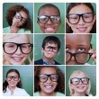 Collage of different pictures of smiling pupils — Stock Photo #26988287