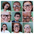 Collage of different pictures of smiling pupils — Stock Photo