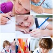 Stock Photo: Collage of children coloring