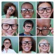 Collage of smiling pupils — Stock Photo