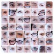 Stock Photo: Collage of eyes of and reading glasses