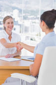 Cheerful interviewer shaking hand of an applicant — Stock Photo