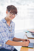 Pretty designer working on graphics tablet — Stock Photo