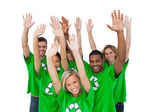 Group of environmental activists raising arms — Stock Photo