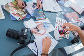 Pictures of photos and magazines — Stock Photo
