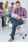 Attractive designer sit in his office — Stock Photo