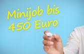 ビジネスマン書く黄色 minijob bis 450 ユーロ — ストック写真