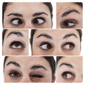 Collage of different pictures showing the eyes — Stock Photo