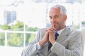 Happy businessman thinking — Stock Photo