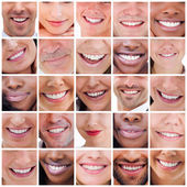 Collage of white smiles — Stock Photo