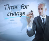 Businessman writing time for change — Stock Photo