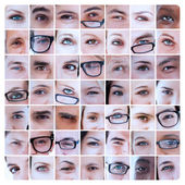 Collage of eyes of and reading glasses — Stock Photo