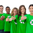 Stock Photo: Cheerful group of environmental activists giving thumbs up