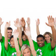 Stock Photo: Cheerful group of environmental activists raising arms