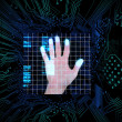 Stock Photo: Palm print in middle of circuit board
