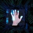 Palm print in the middle of circuit board — Stock Photo
