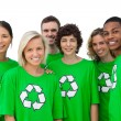 Group of smiling activists wearing green shirt with recycling sy — Stockfoto