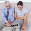 Business using laptop on the couch — Stock Photo #26995677
