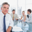Serious businessman during a meeting — Stock Photo