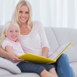 Mother and her daughter reading a book — Stock Photo