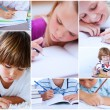 Collage of pupils studying — Foto de Stock