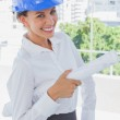 Smiling architect holding plans and wearing hardhat — Stock Photo #26996159