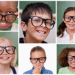 Collage of cheerful pupils — Stock Photo