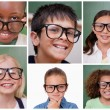 Stock Photo: Collage of cheerful pupils