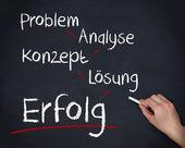 Hand writing problem, analyse, konzept, losung and erfolg — Stock Photo