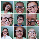 Collage of different pictures of pupils — Stock Photo