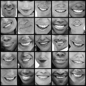 Collage of smiling in black and white — Stock Photo