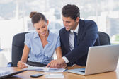 Smiling business working together — Stock Photo